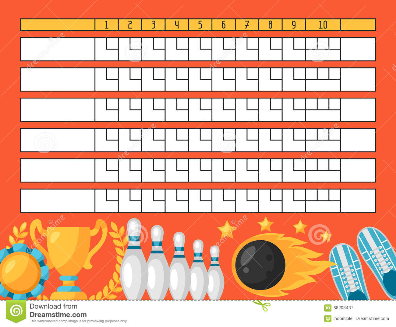 Blank Bowling Flyer Template Illustration Vector Image – Bowling Flyer Template