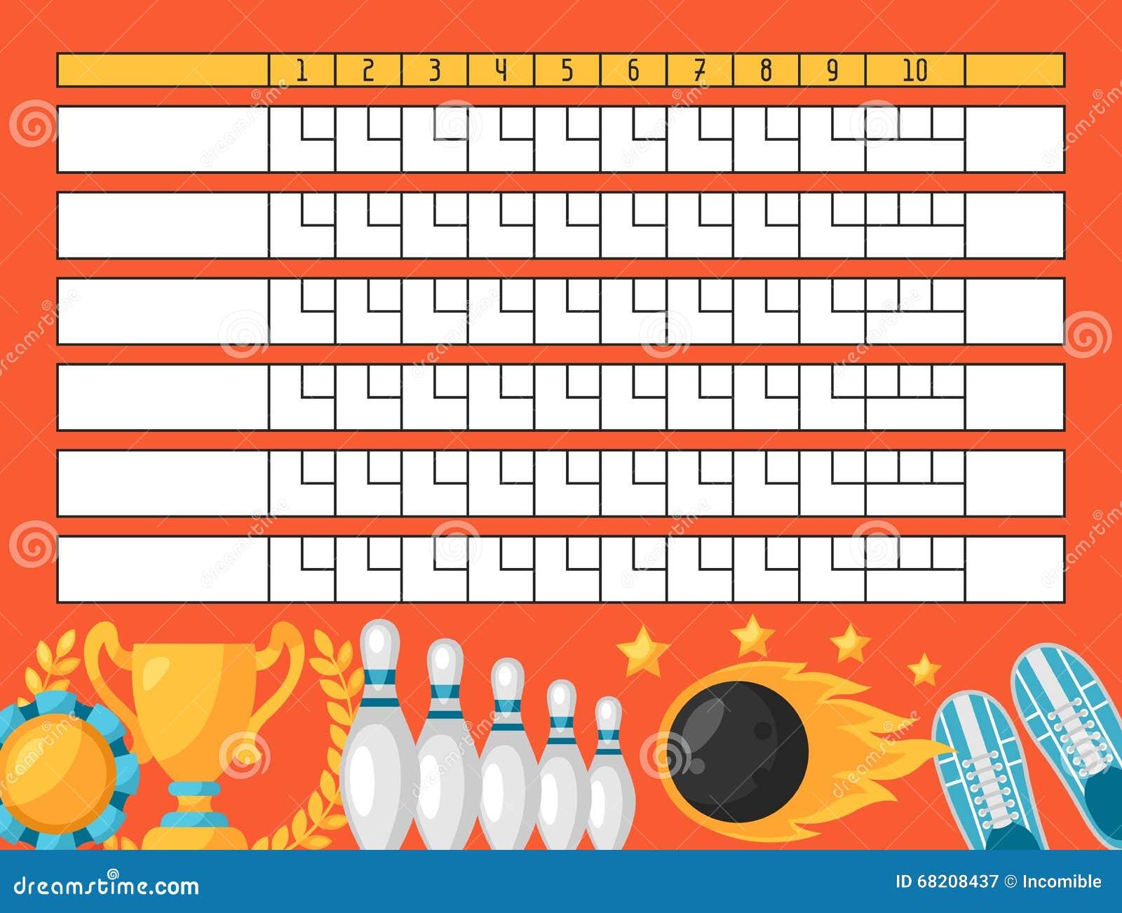 Ten pin bowling score card template.