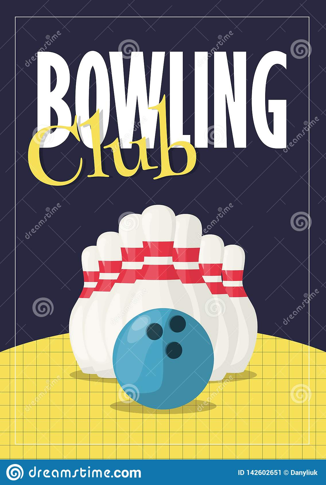 Bowling Tournament Poster Invitation Vector Illustration