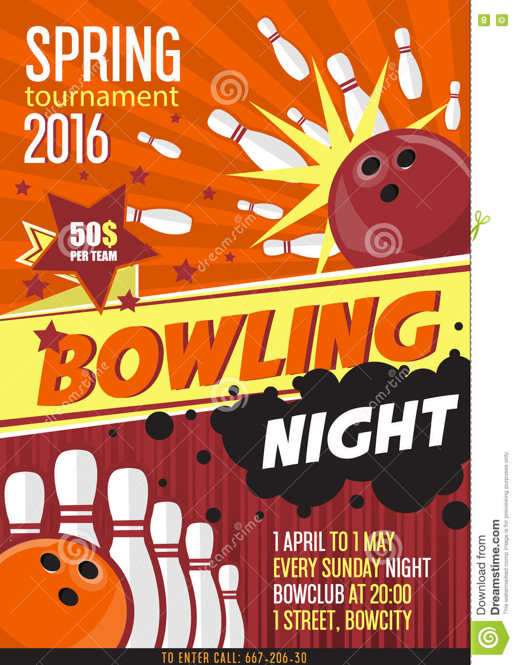 Bowling Tournament Poster Template Design With Bowling