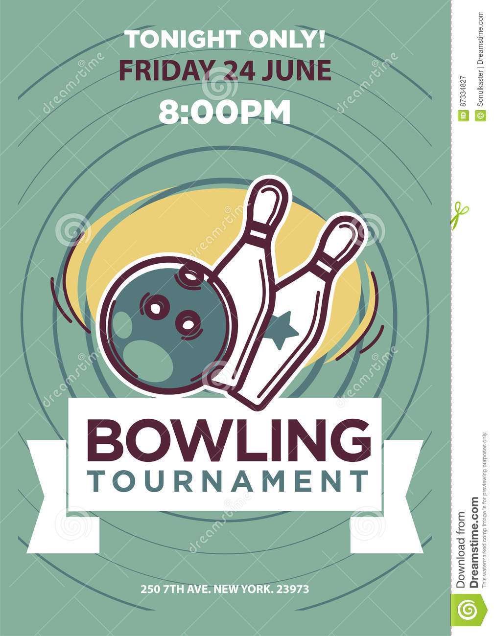 Bowling Tournament Poster Template Stock Vector