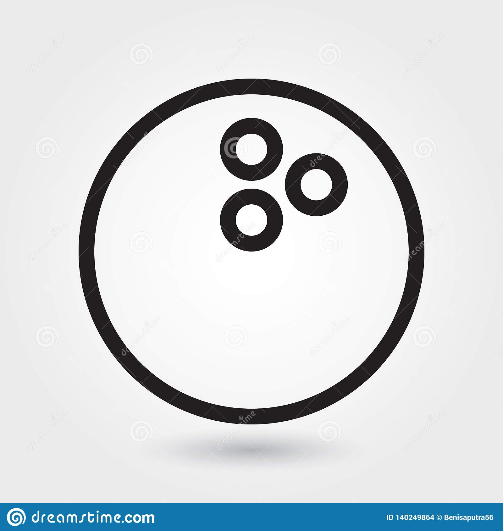 Bowling vector icon, bowling ball icon, sports ball symbol. Modern, simple outline, outline vector
