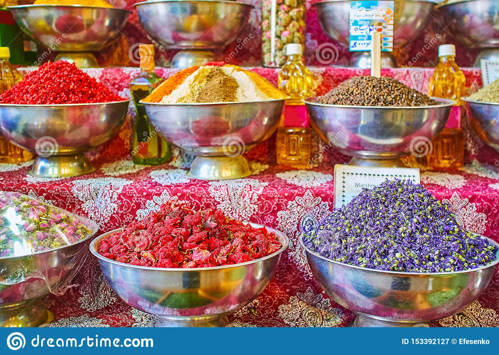 The bowls with dried flowers, Vakil Bazaar, Shiraz, Iran