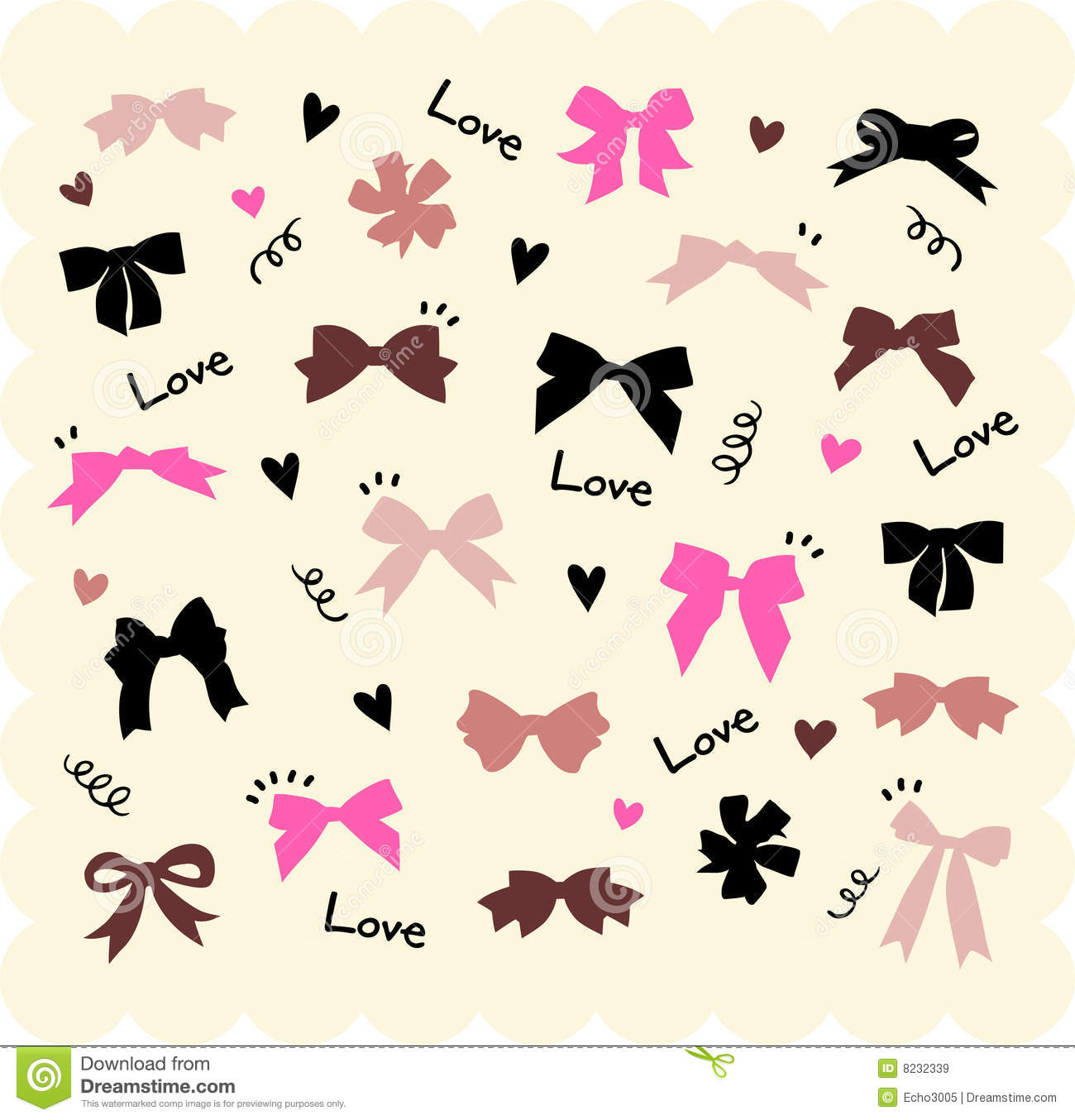 Bows and hearts backgroud
