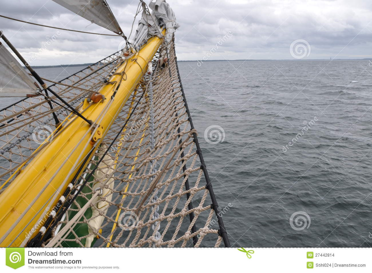 Bowsprit of sail boat