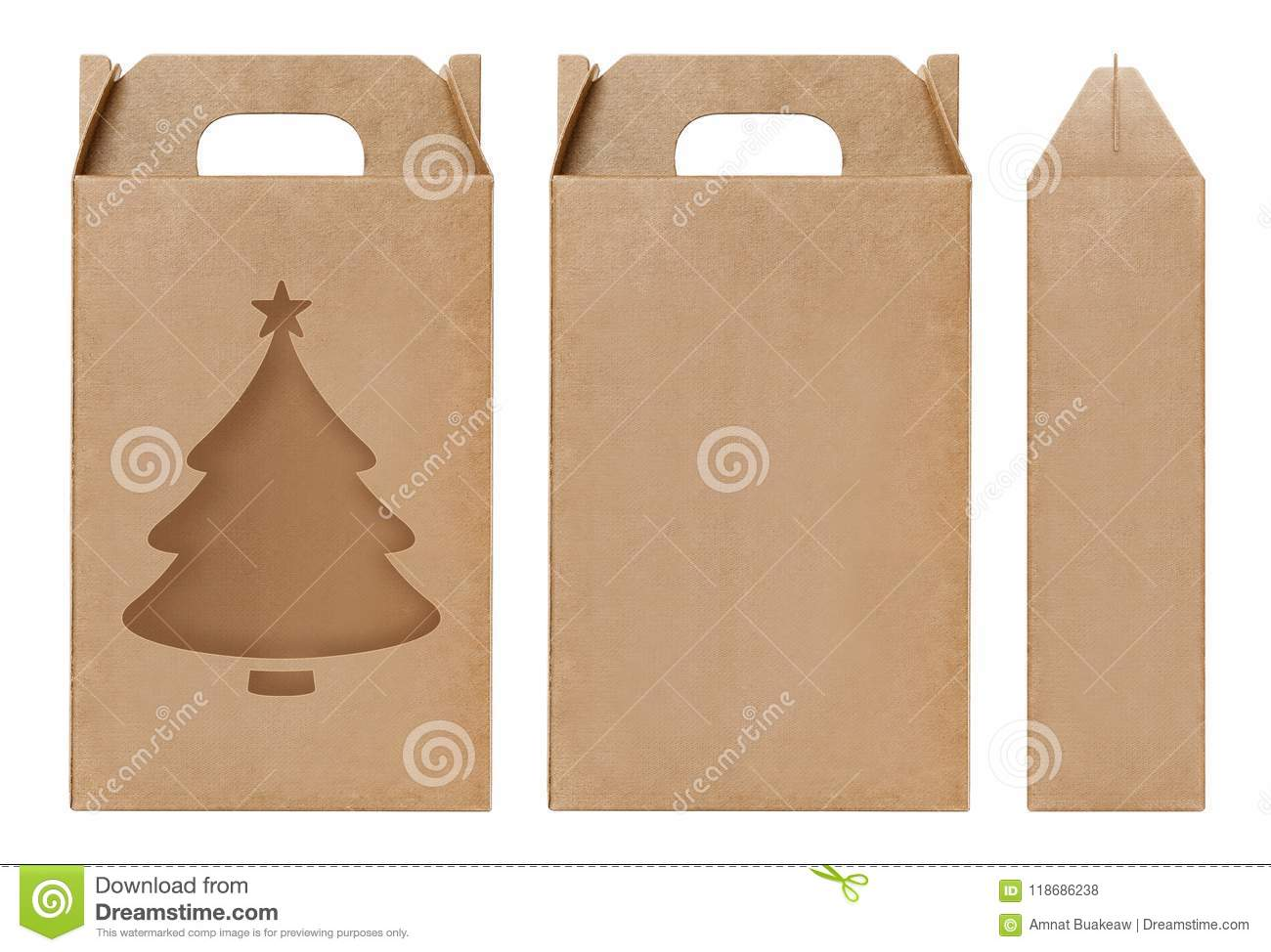 Box Brown Window Christmas Tree Shape Cut Out Packaging Template