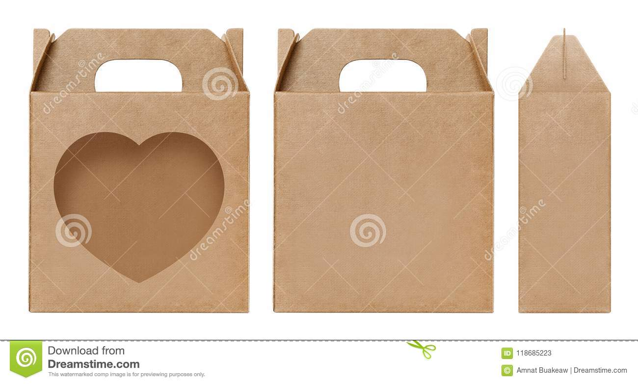 box brown window heart shape cut out packaging template empty kraft