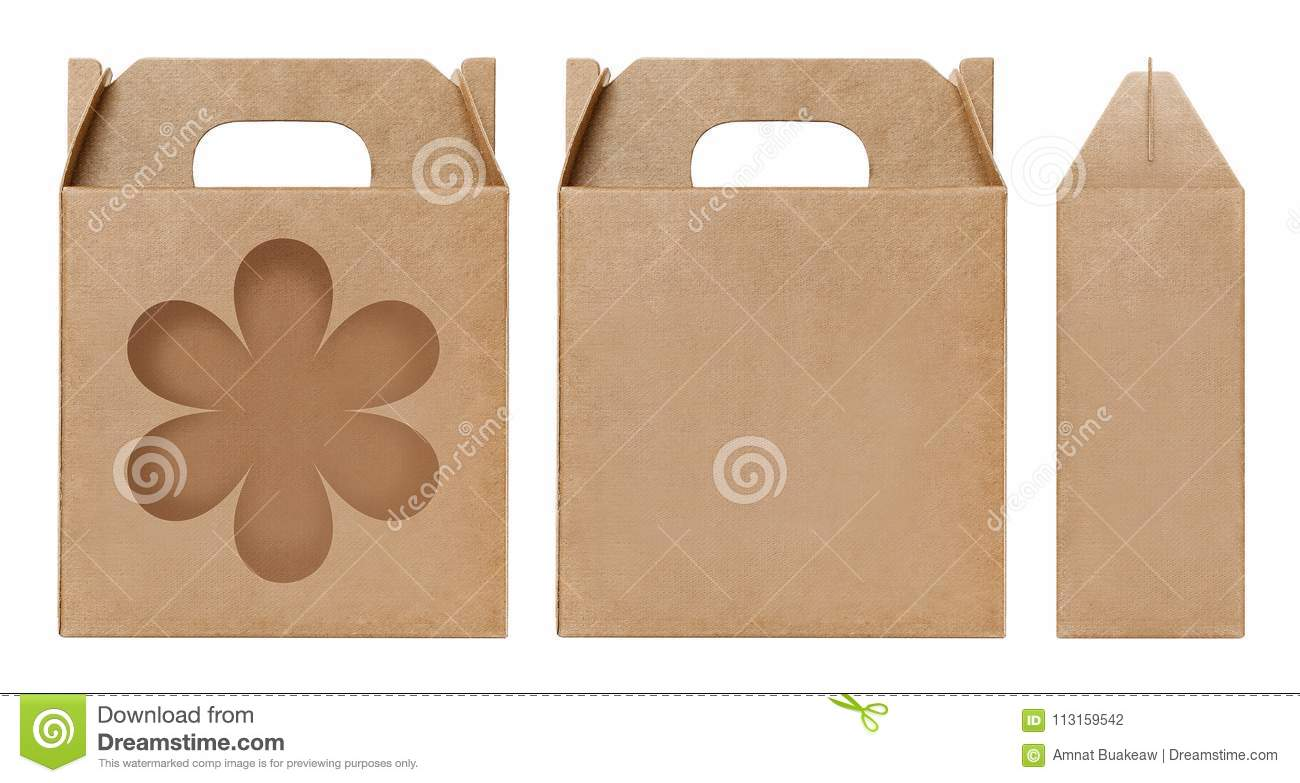 Brown Box Window Shape Cut Out Packaging Template Empty Box