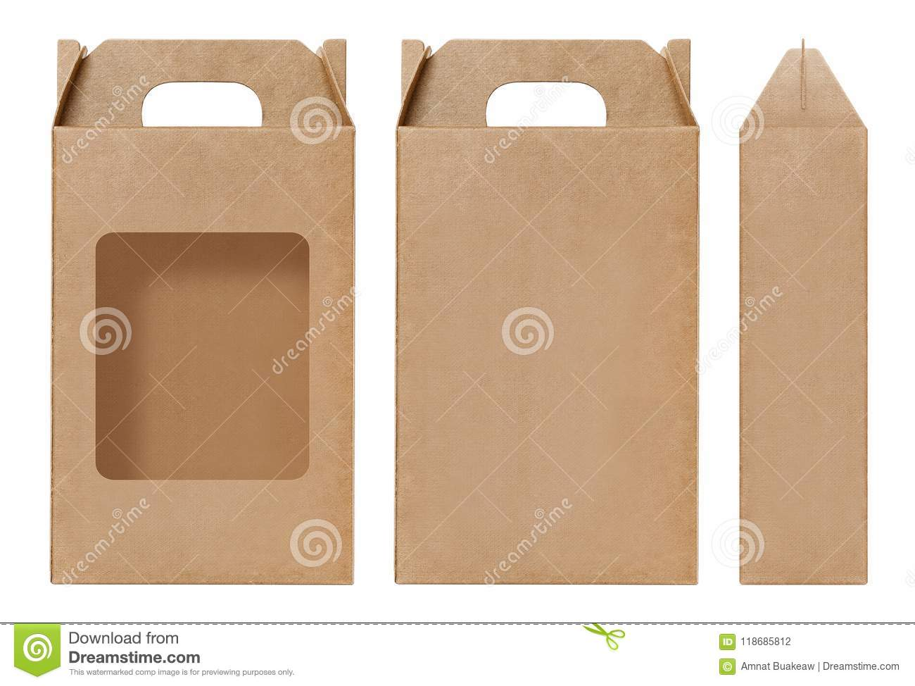 Box brown window shape cut out Packaging template, Empty kraft Box Cardboard isolated white background, Boxes Paper kraft natural