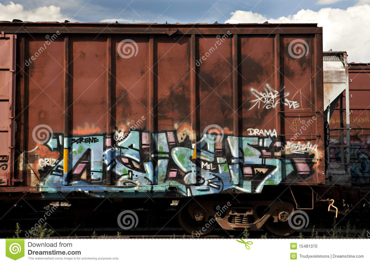 Box Cars From A Freight Train With Graffiti Stock Photo Image Of