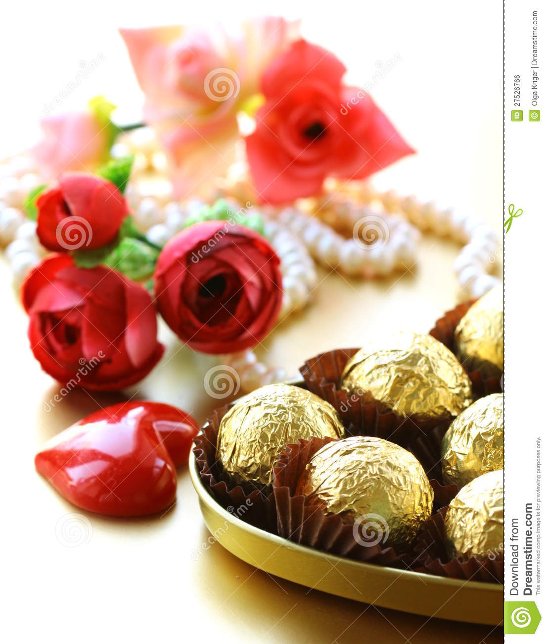 Box Chocolates And Flowers Royalty Free Stock Image Image