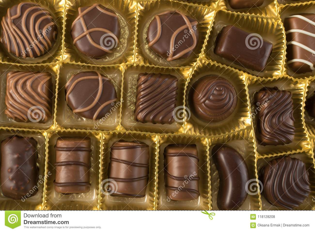 Box Of Chocolates Top View Stock Photo Image Of Assortment 118128208