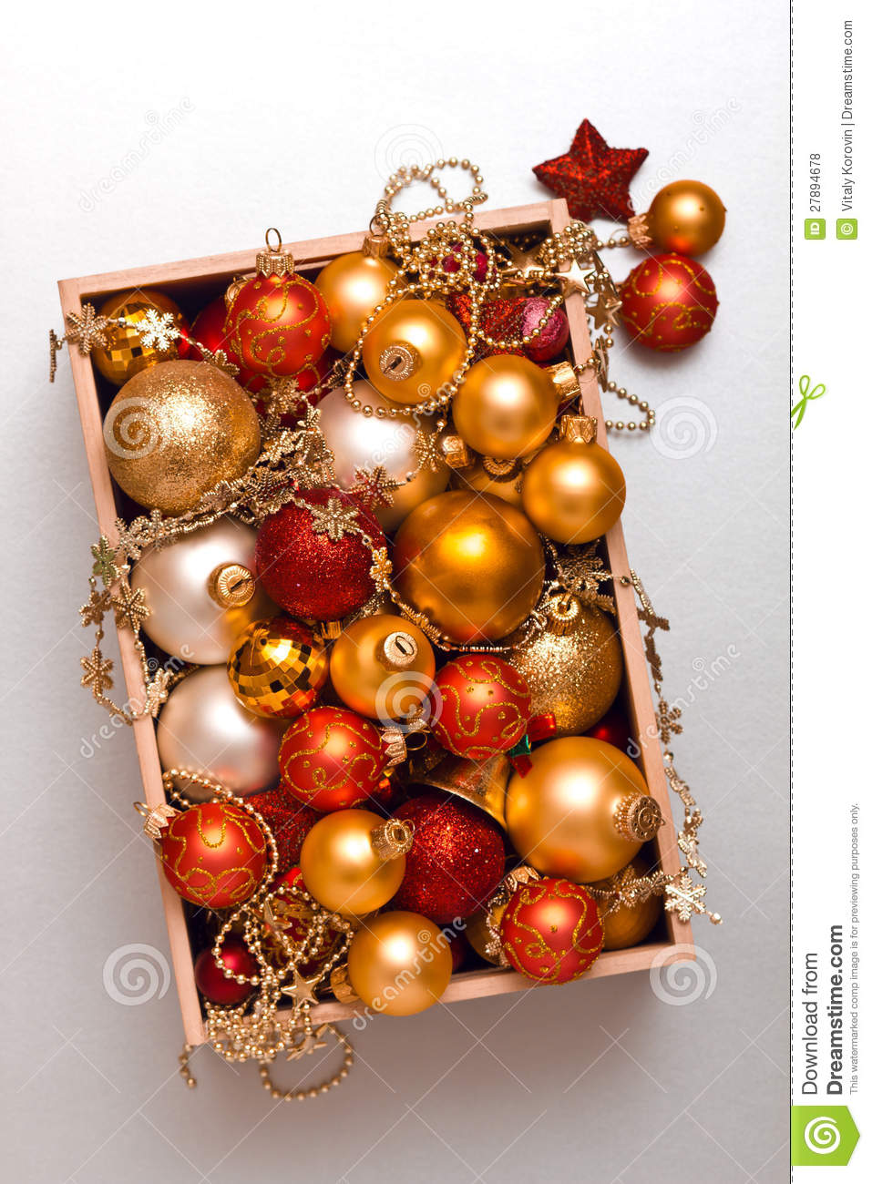 box of christmas decorations - Orange Christmas Decorations
