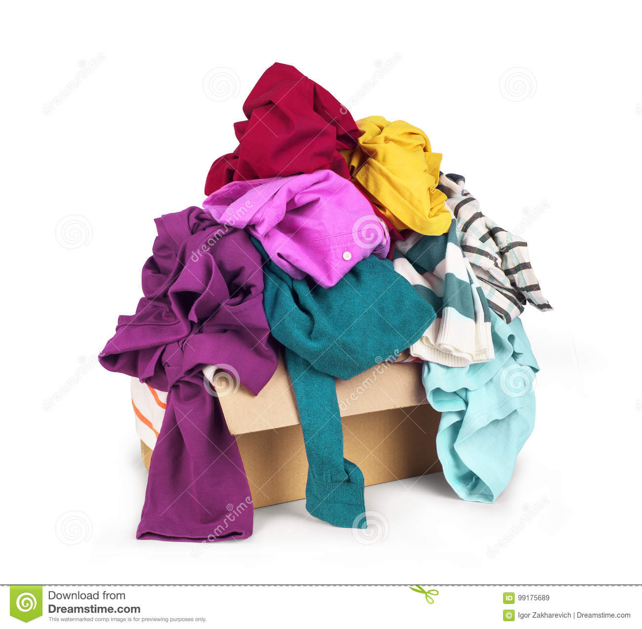 Box with clothes stock image  Image of fashion, folded