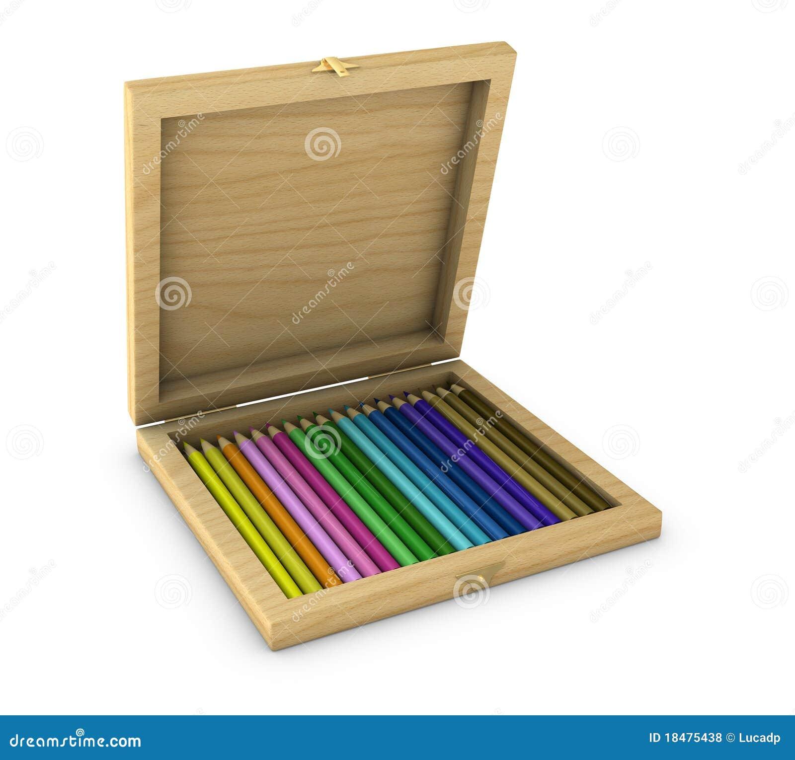 Box Of Colored Pencils : Box of colored pencils royalty free stock photos image