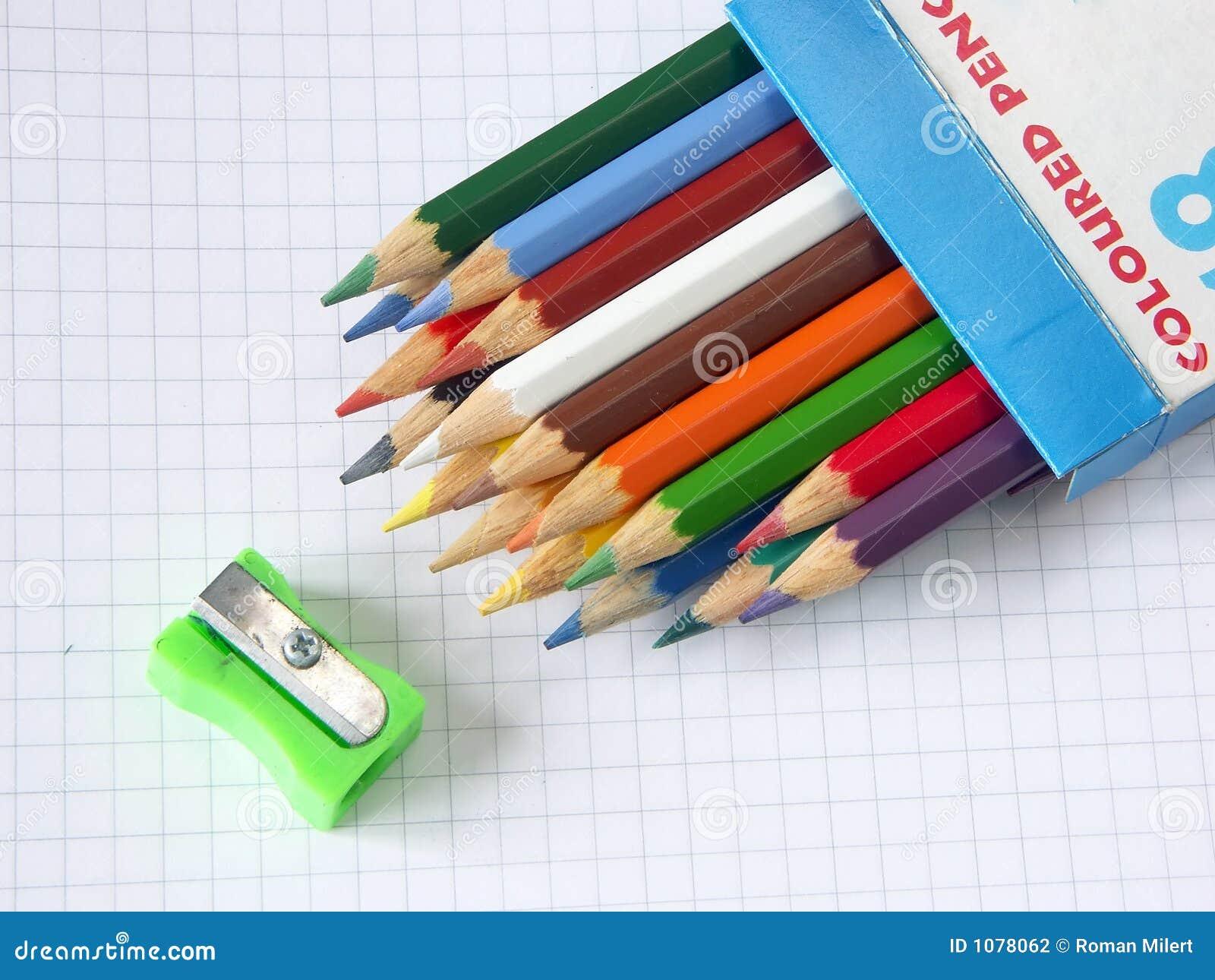 Box Of Colored Pencils : Box of colored pencils and sharpener stock photography