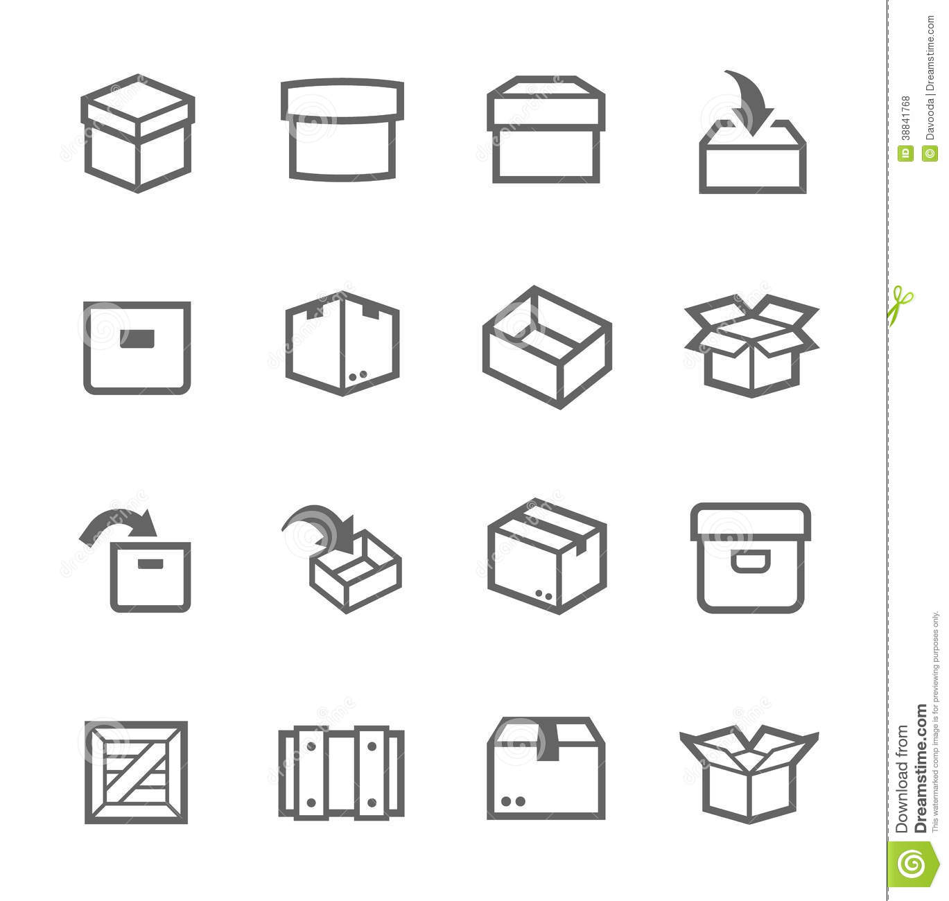 box and crates icons stock vector image 38841768 Pirate Chest Clip Art Empty Treasure Chest