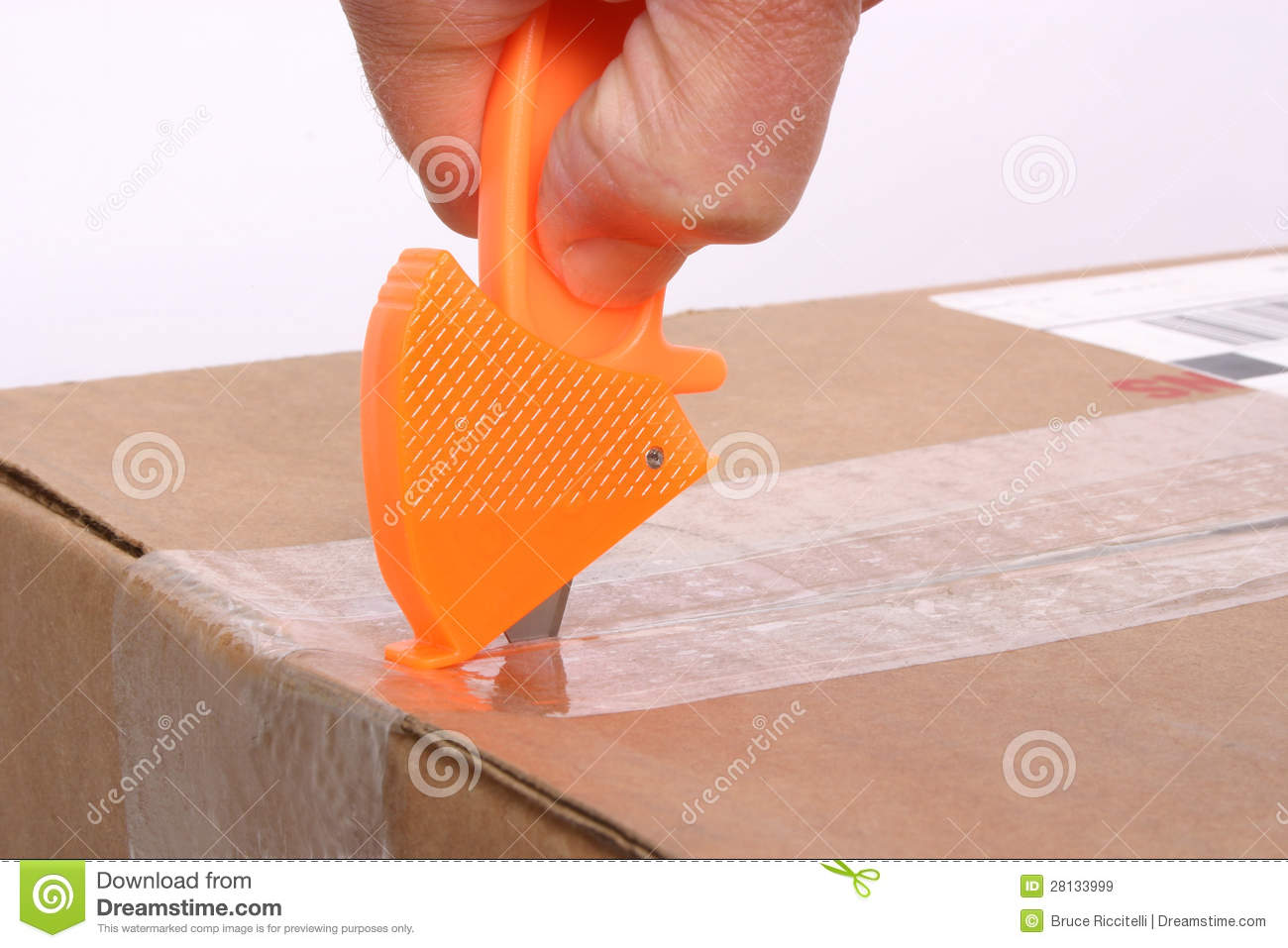 Box Cutter In Use Stock Image Image Of Opening Safety