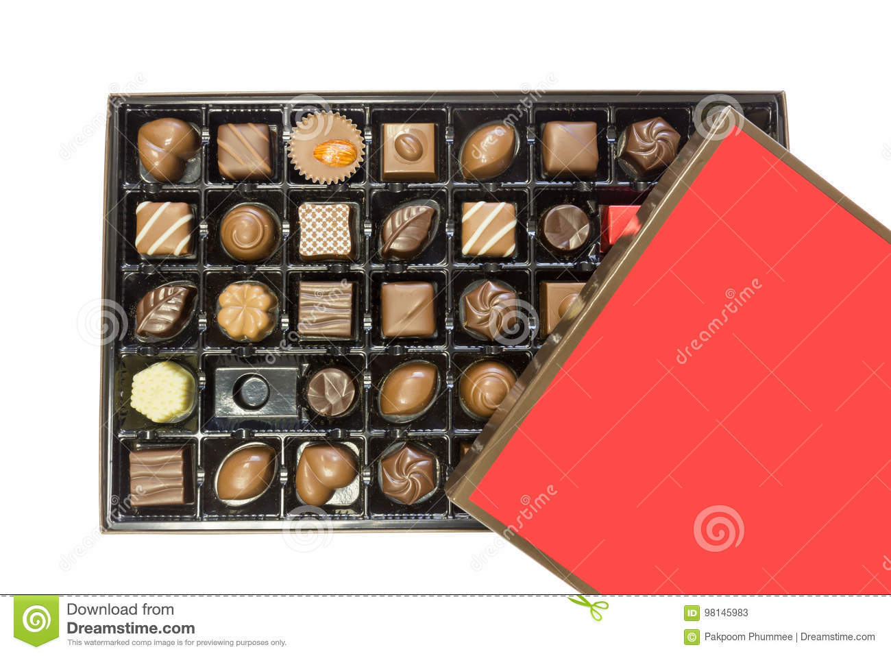 Box Of Delicious Chocolates Box With Red Lid Isolated On White