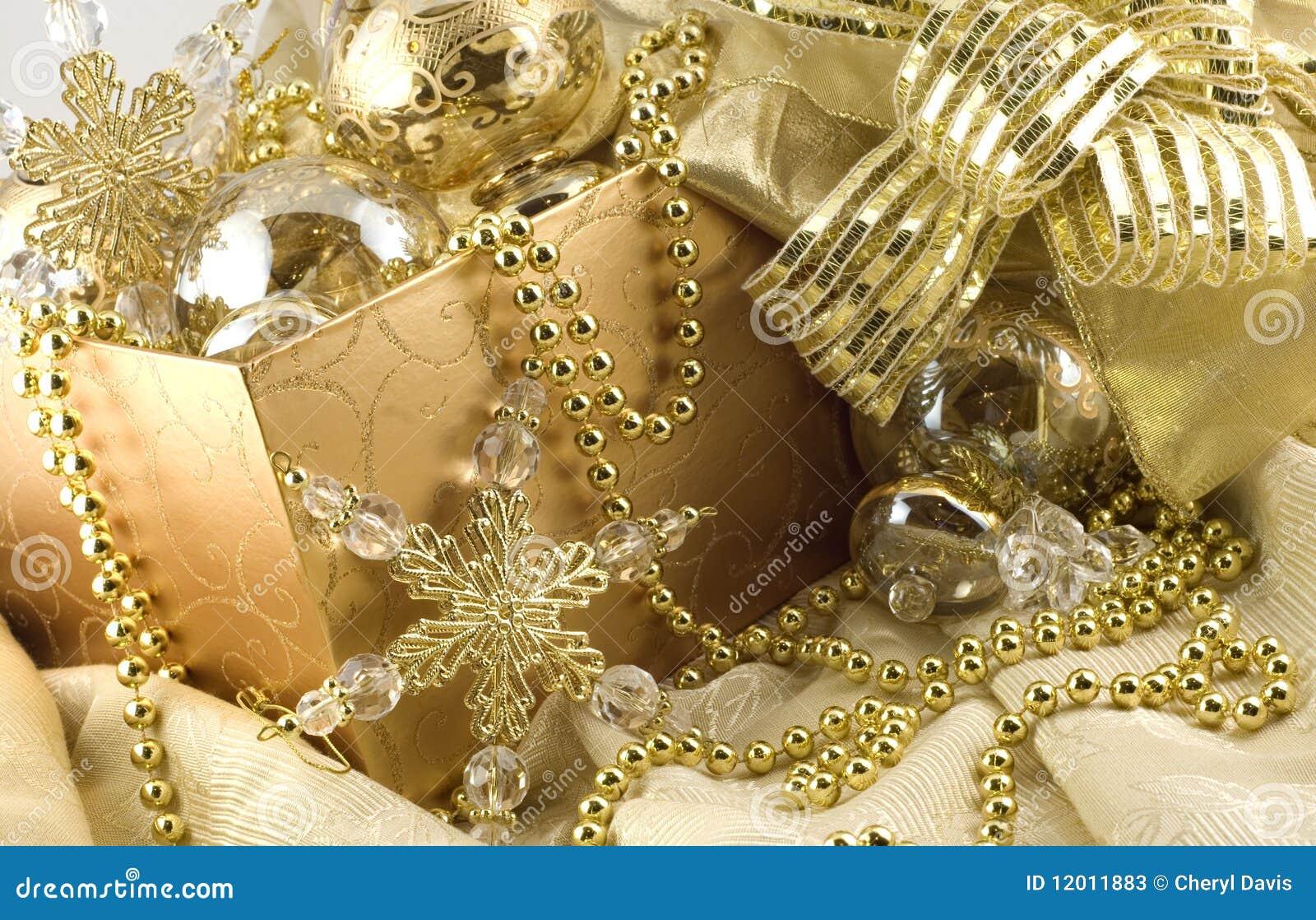 box of elegant gold holiday decorations stock photos - Holiday Decorations
