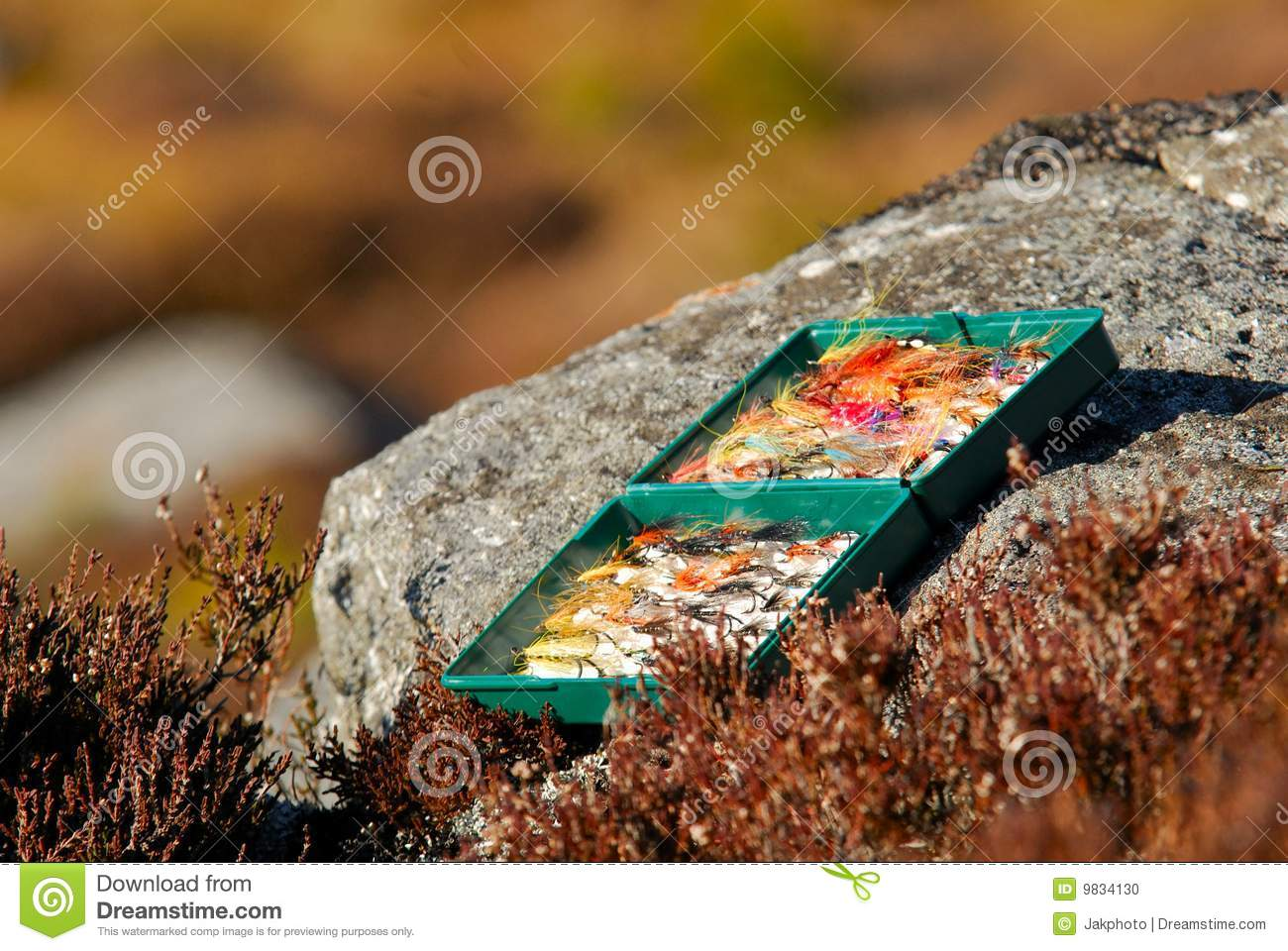 Box of fly fishing flies on a rock stock photo image for Fly fishing subscription box