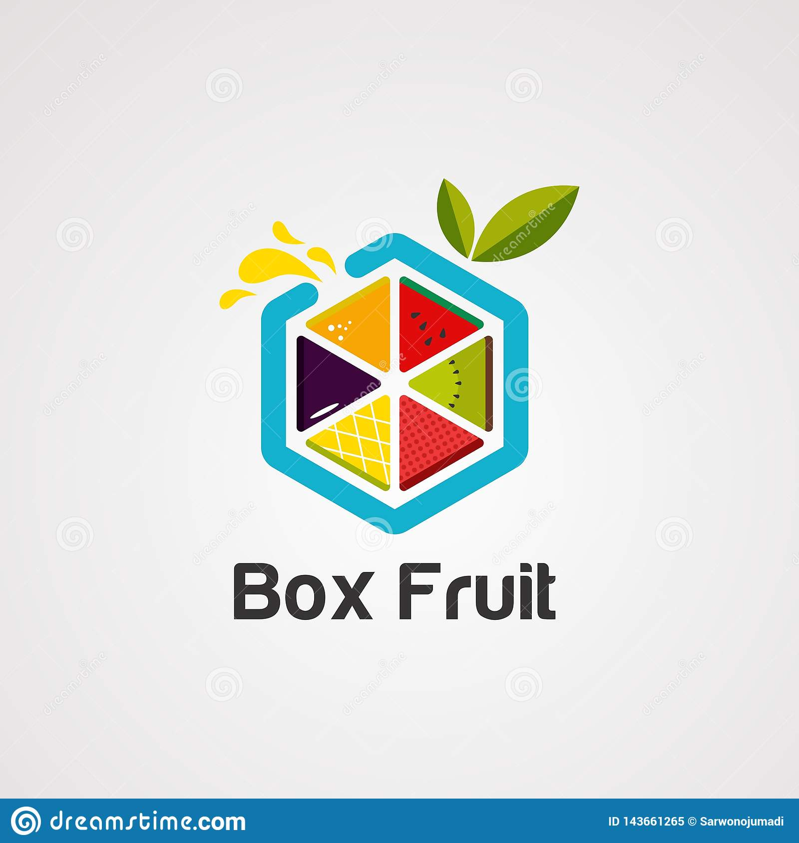 Box fruit colorful logo vector, icon, element, and template for company