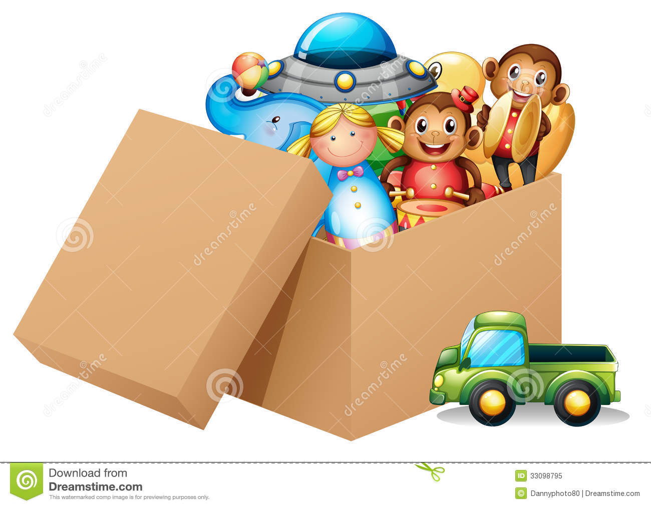 Illustration of a box full of different toys on a white background.