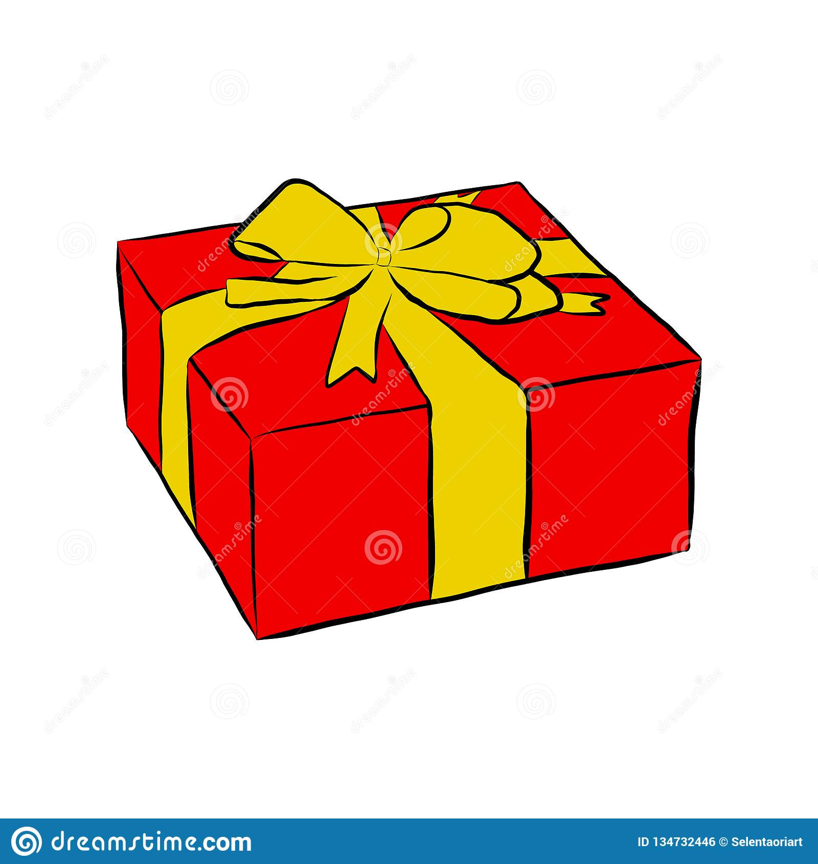 Box with gift and bow,
