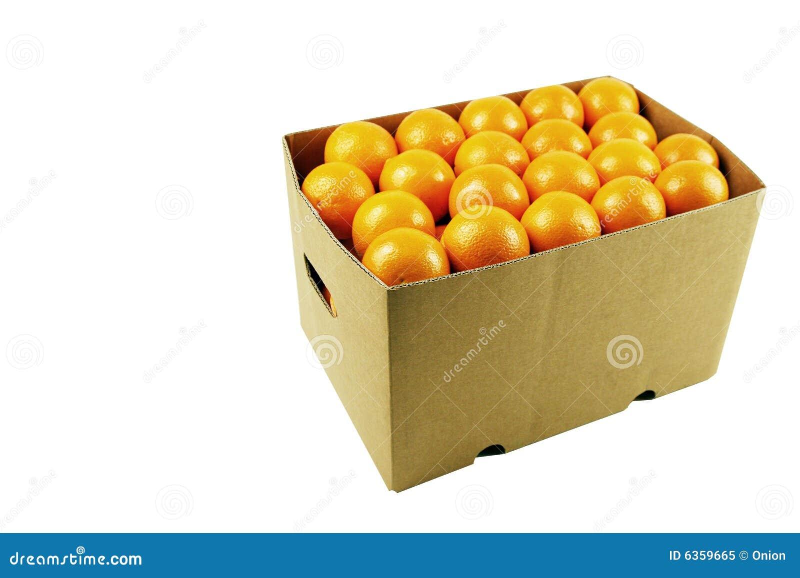 Box of juicy oranges