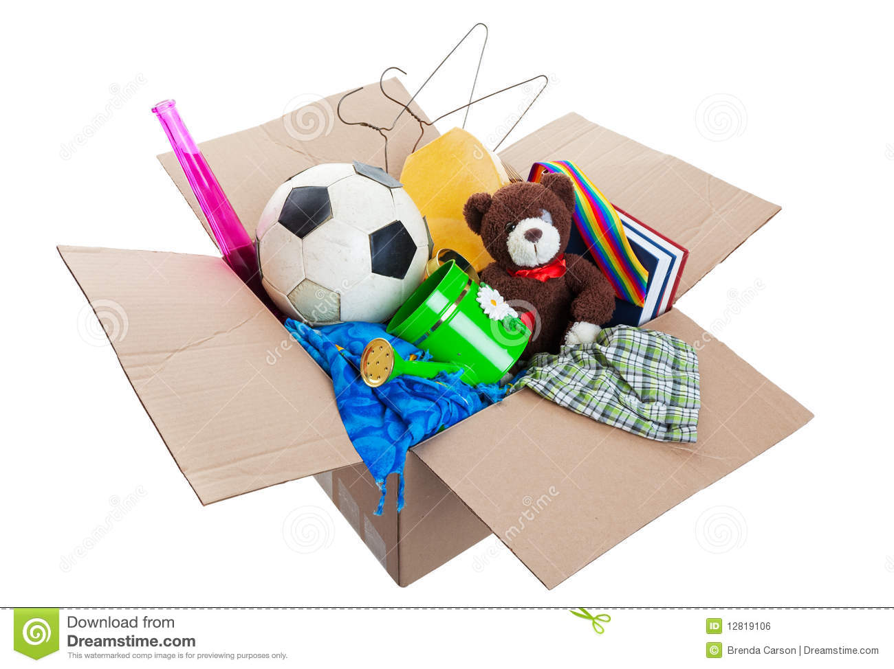 box of unwanted stuff ready for a garage sale or to donate to a ...