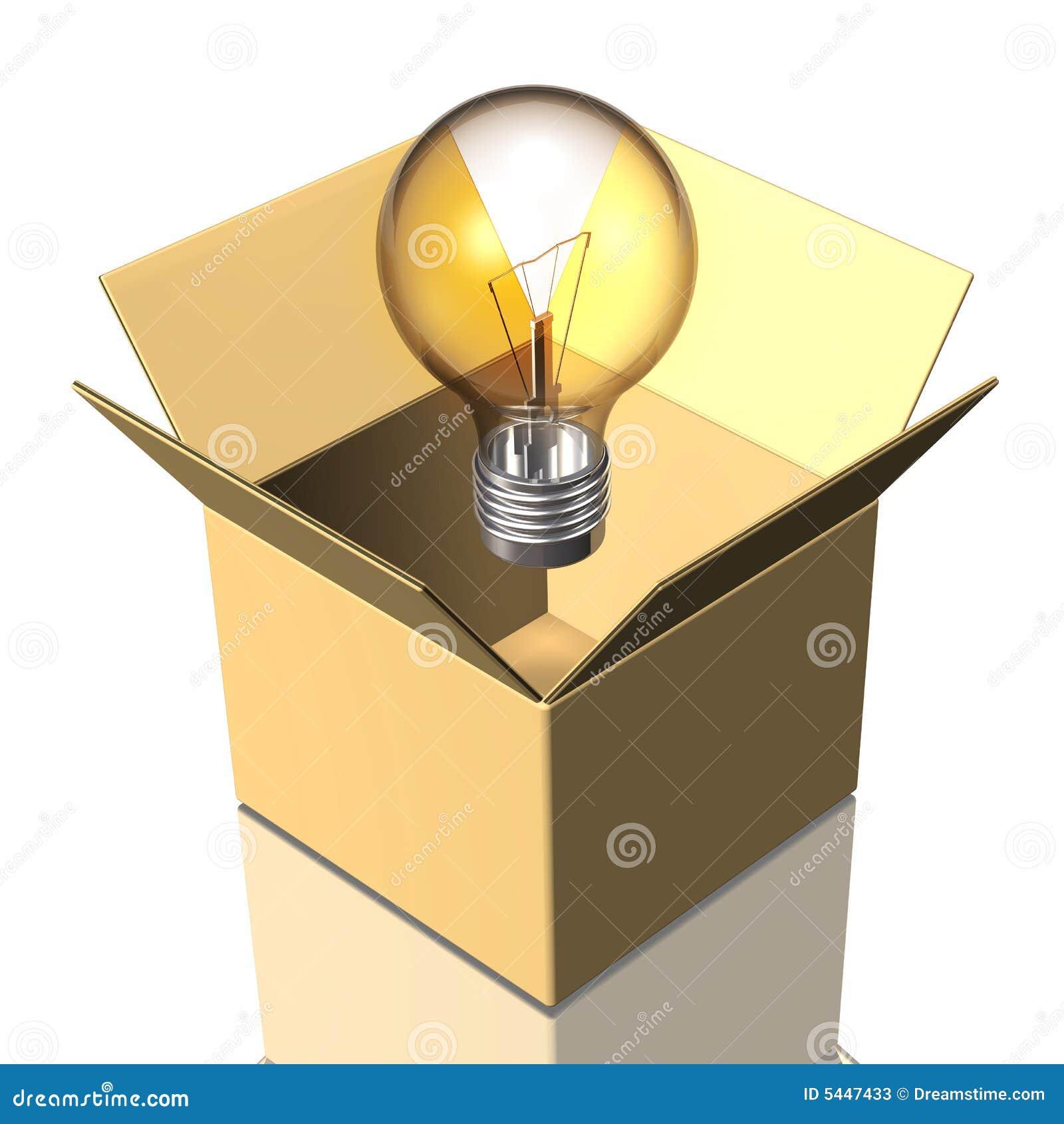 box and light bulb stock photos image 5447433. Black Bedroom Furniture Sets. Home Design Ideas