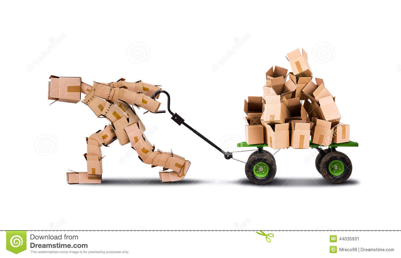 Box Man Moving Boxes On Trolley Stock Image Image 44035931