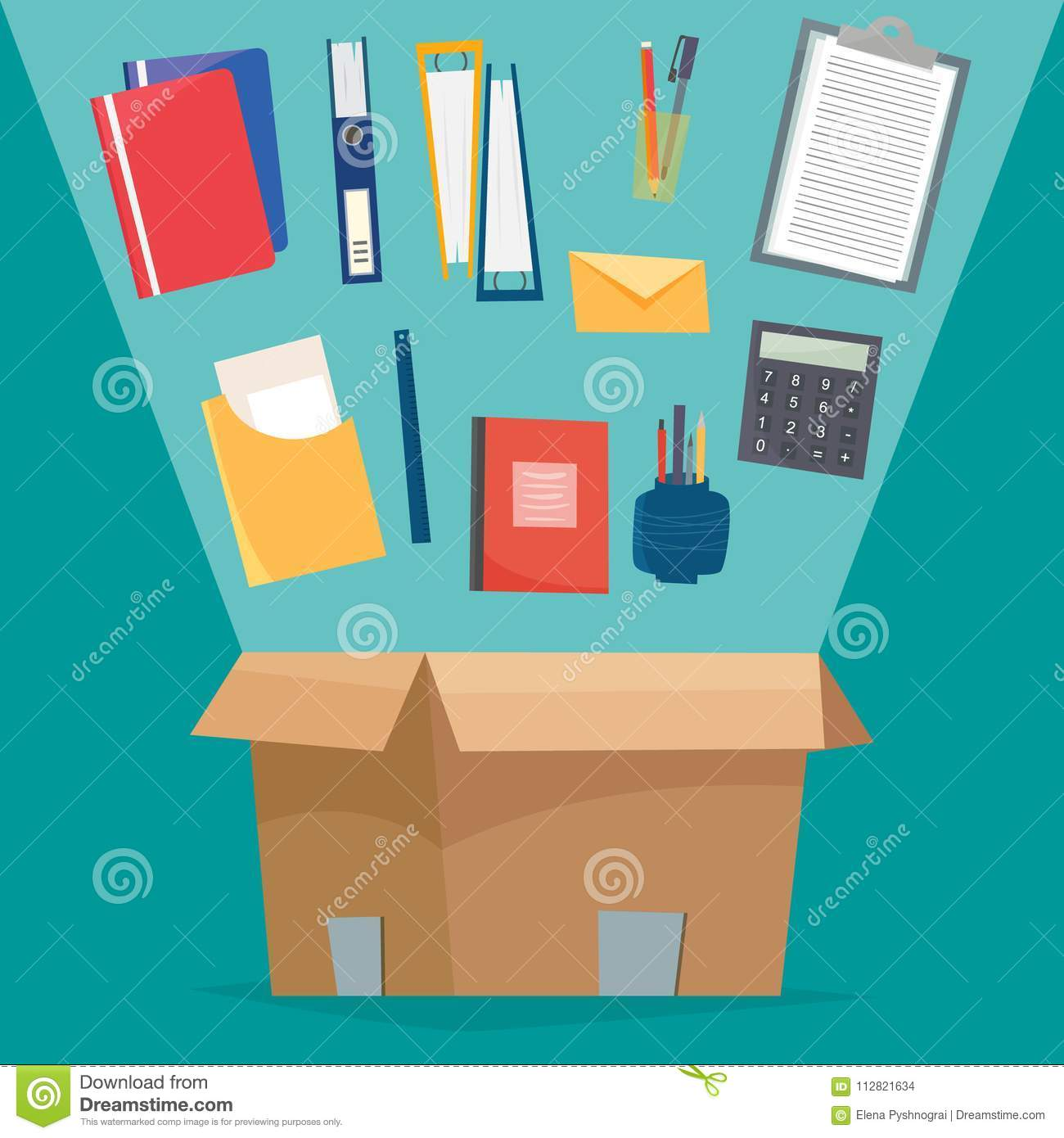 Box with office objects  stock vector  Illustration of container