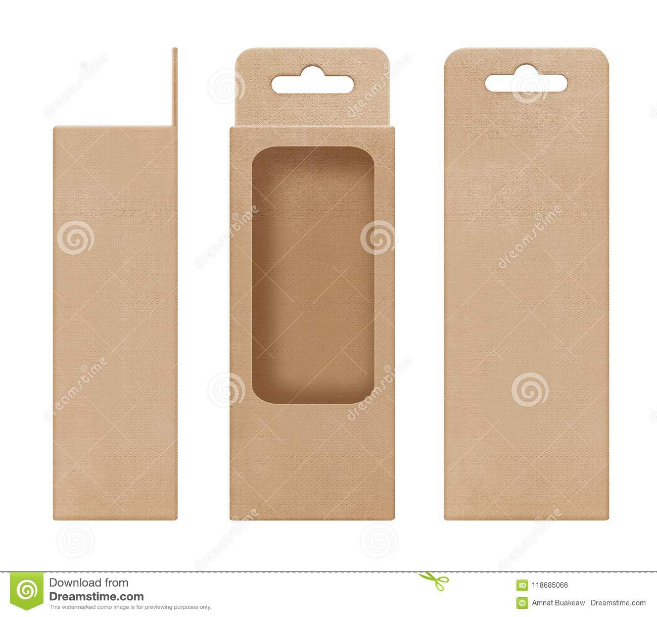 box packaging box brown for hanging cut out window shape open