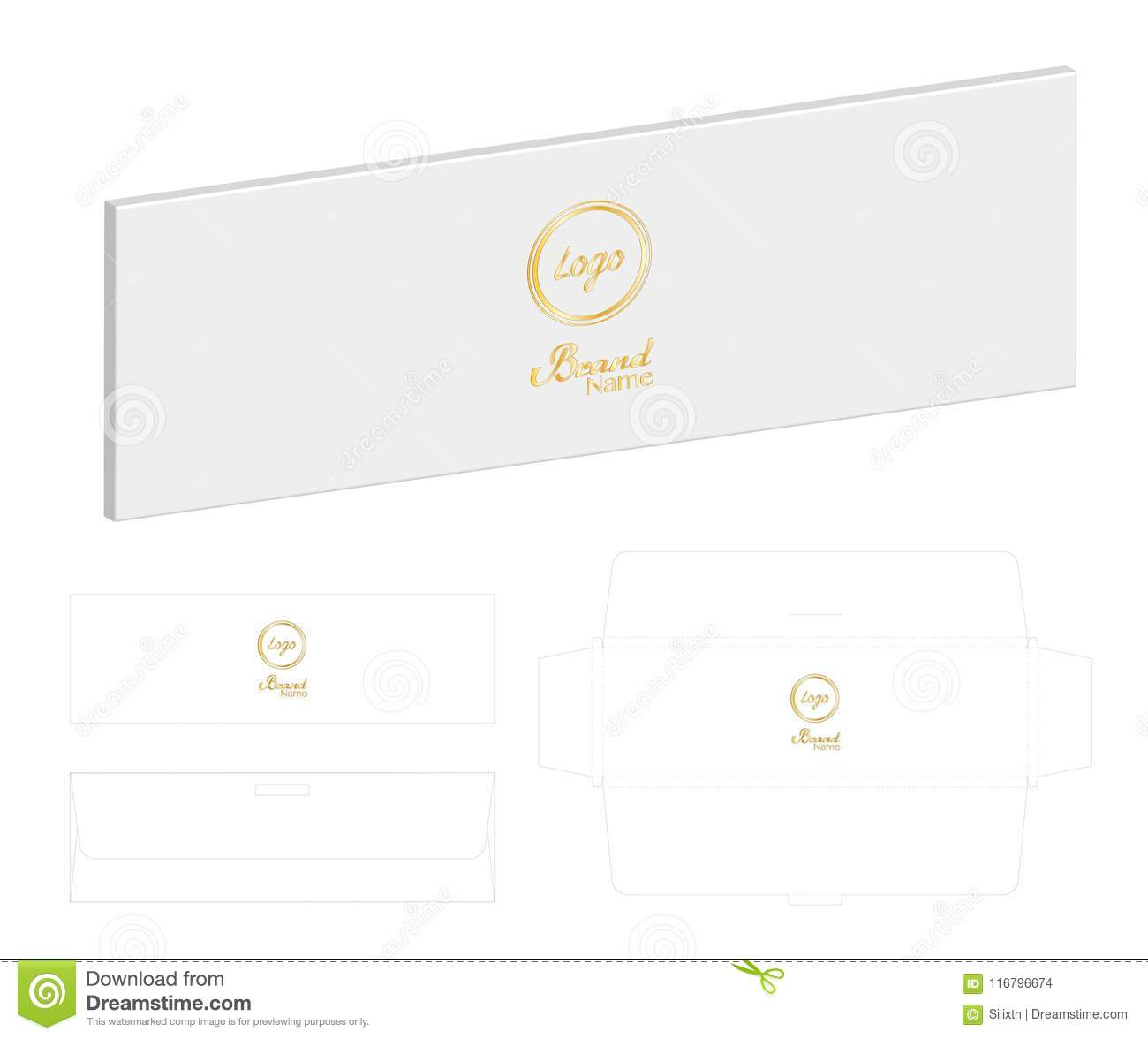 Box Packaging Die Cut Template 3D Mockup Stock Vector - Illustration ...