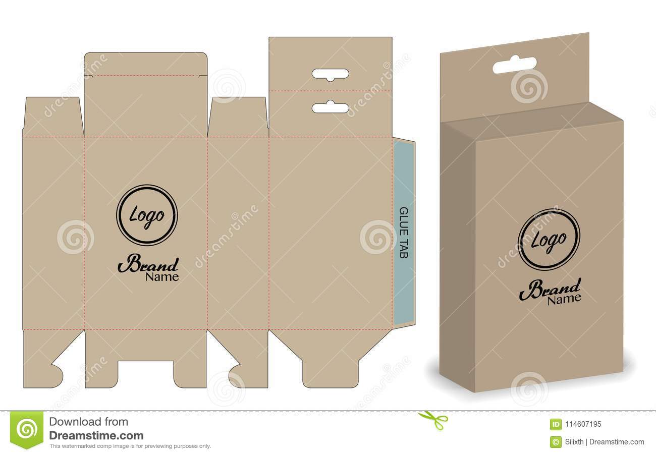 Box Packaging Die Cut Template Design 3d Mock Up Stock Vector
