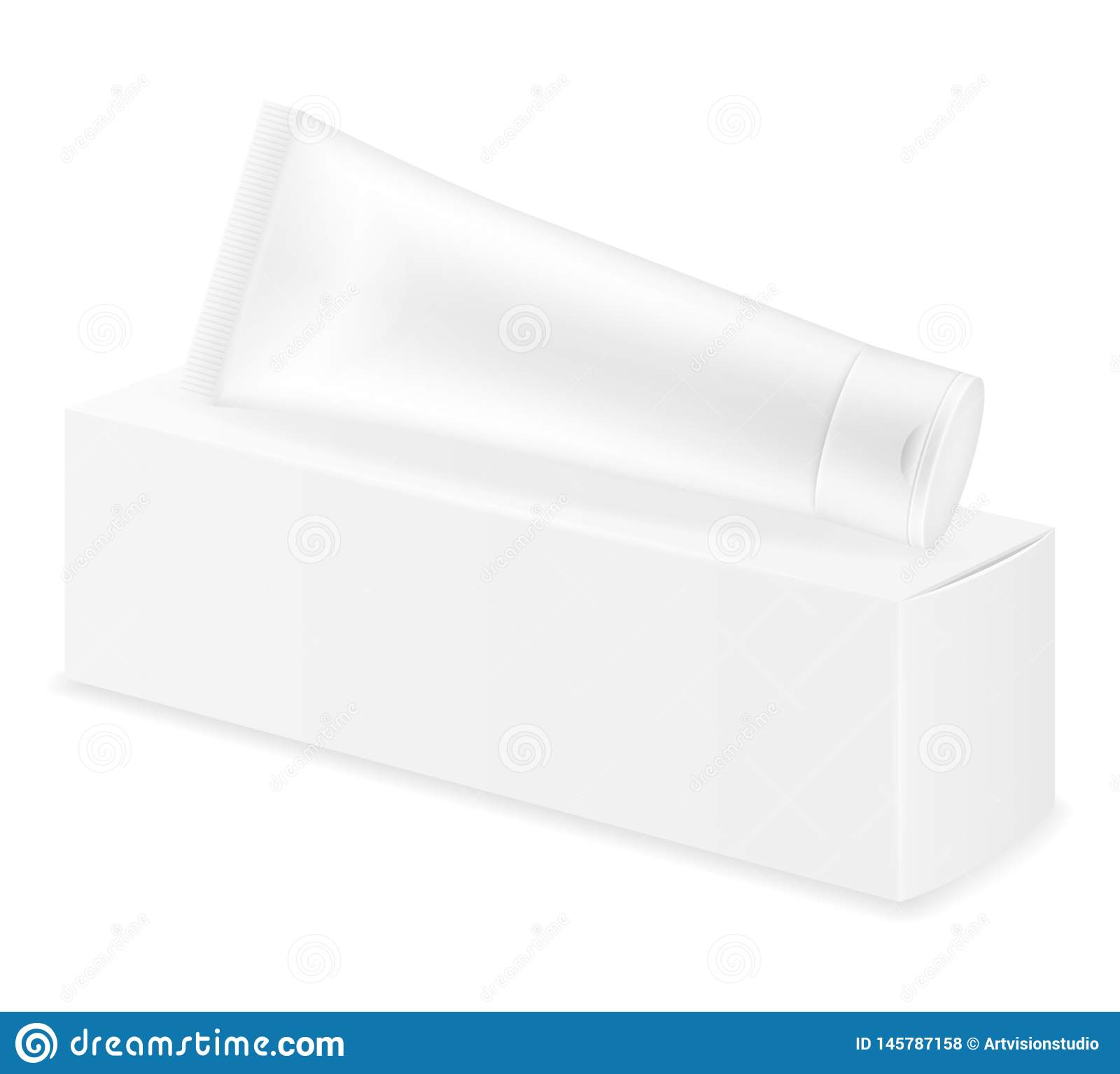 Box Packaging And Tube Of Toothpaste Empty Template For Design Stock Vector Illustration Stock Vector Illustration Of Cream Fresh 145787158