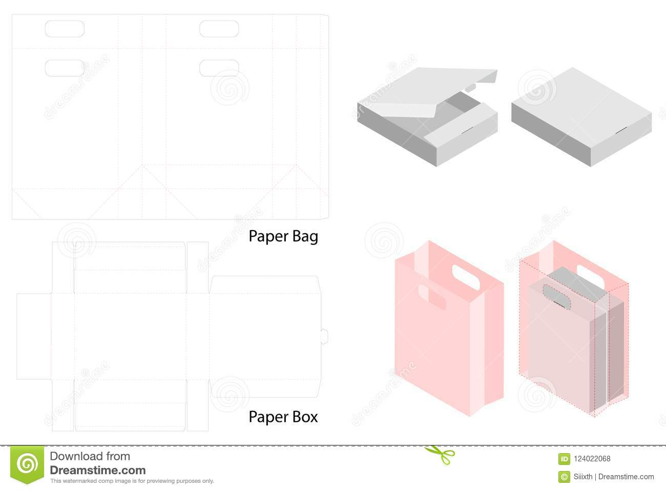 Box and paper bag set mockup with dieline stock vector download box and paper bag set mockup with dieline stock vector illustration of blueprint malvernweather Choice Image