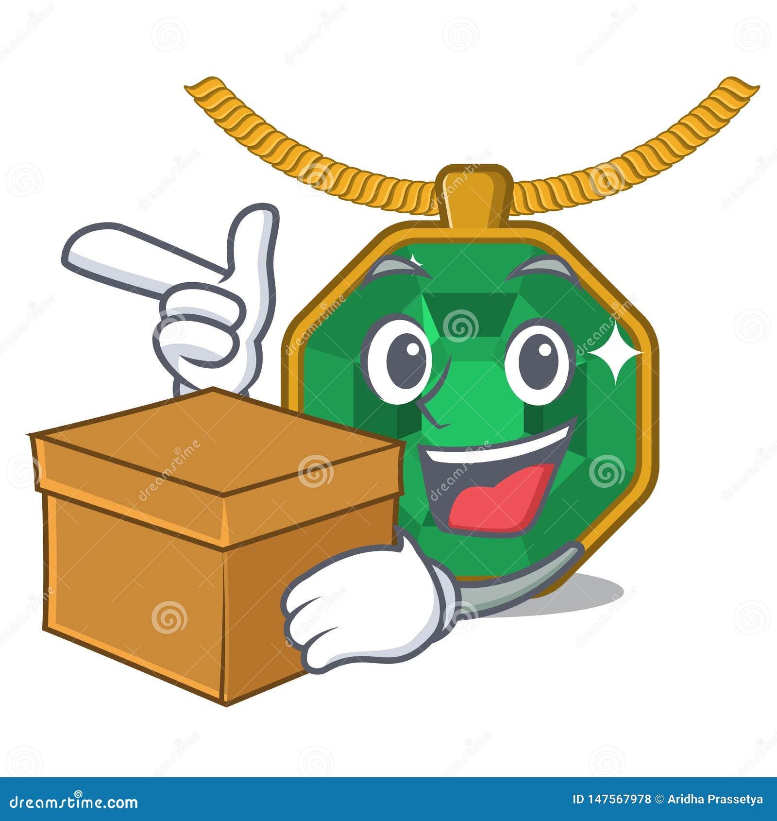 With Box Peridot Jewelry In A Cartoon Box Stock Vector ...