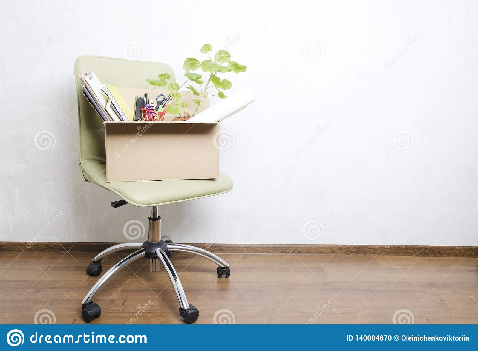 Groovy Box With Personal Items Standing On The Chair In The Office Alphanode Cool Chair Designs And Ideas Alphanodeonline