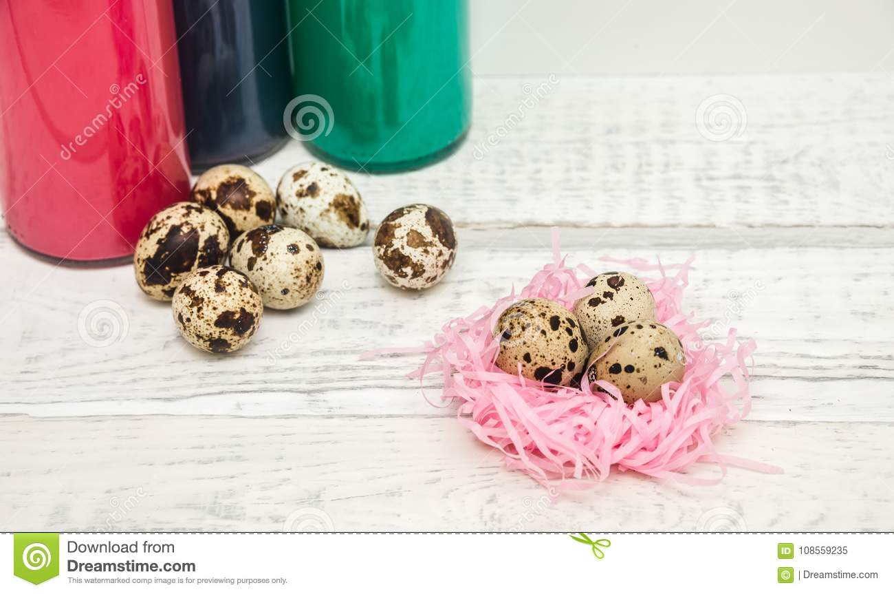Download Quail Eggs In The Nest In The Background Stock Image ...