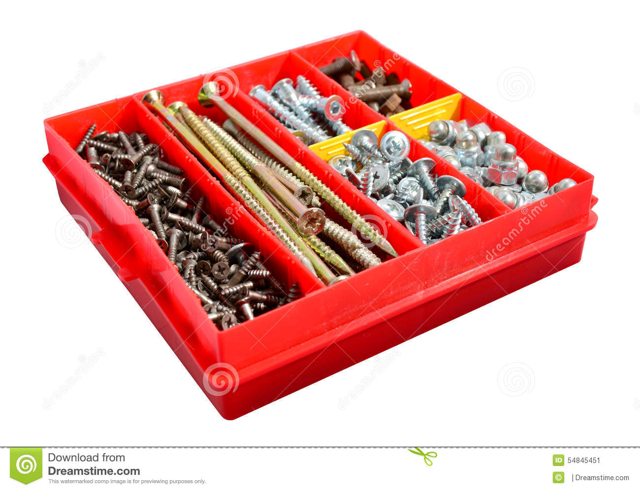 A box of screws and bolts