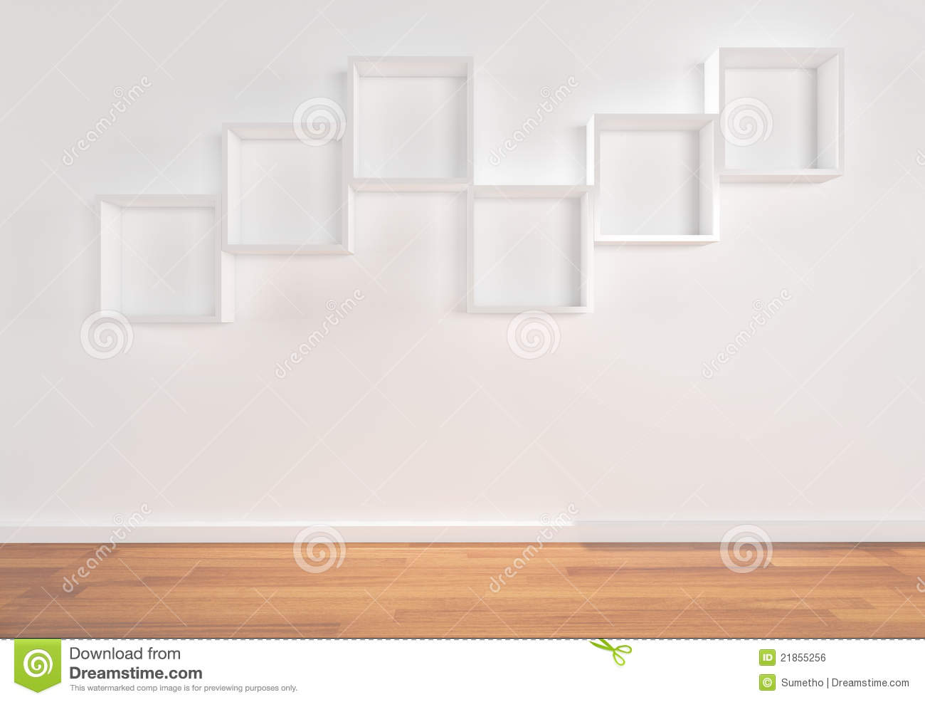 Box Shelves On White Wall Stock Illustration Image Of