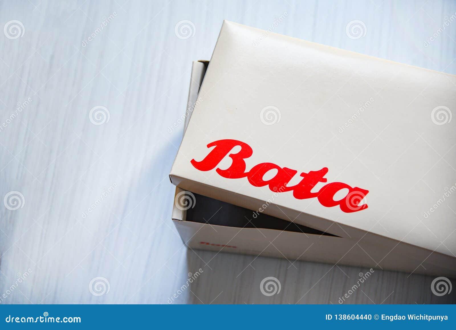 Box shoe Bata logo banner and red wording