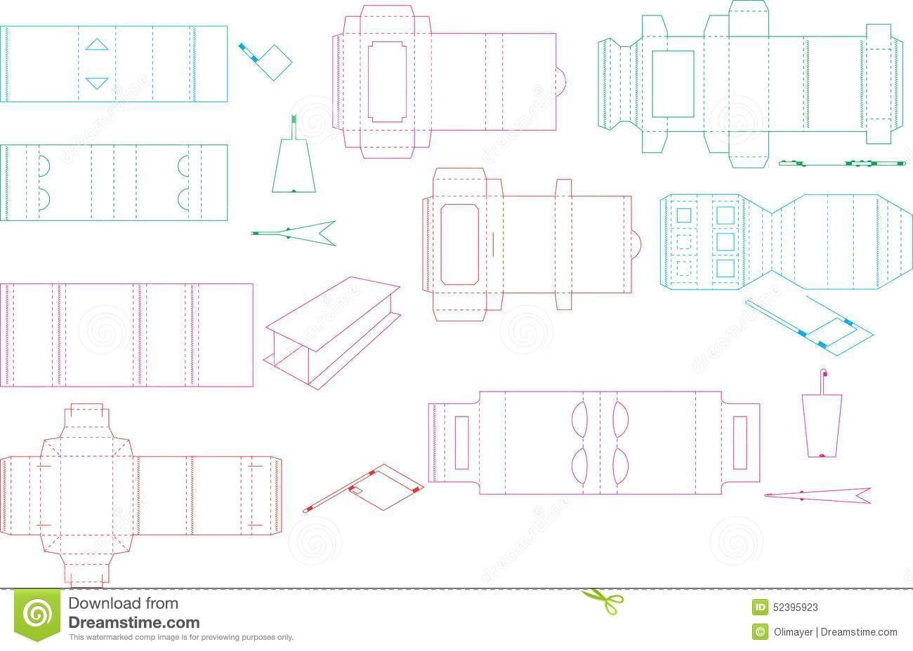 useful templates for boxes and package including cutting folding lines and gluing area ready to be easily and quickly made
