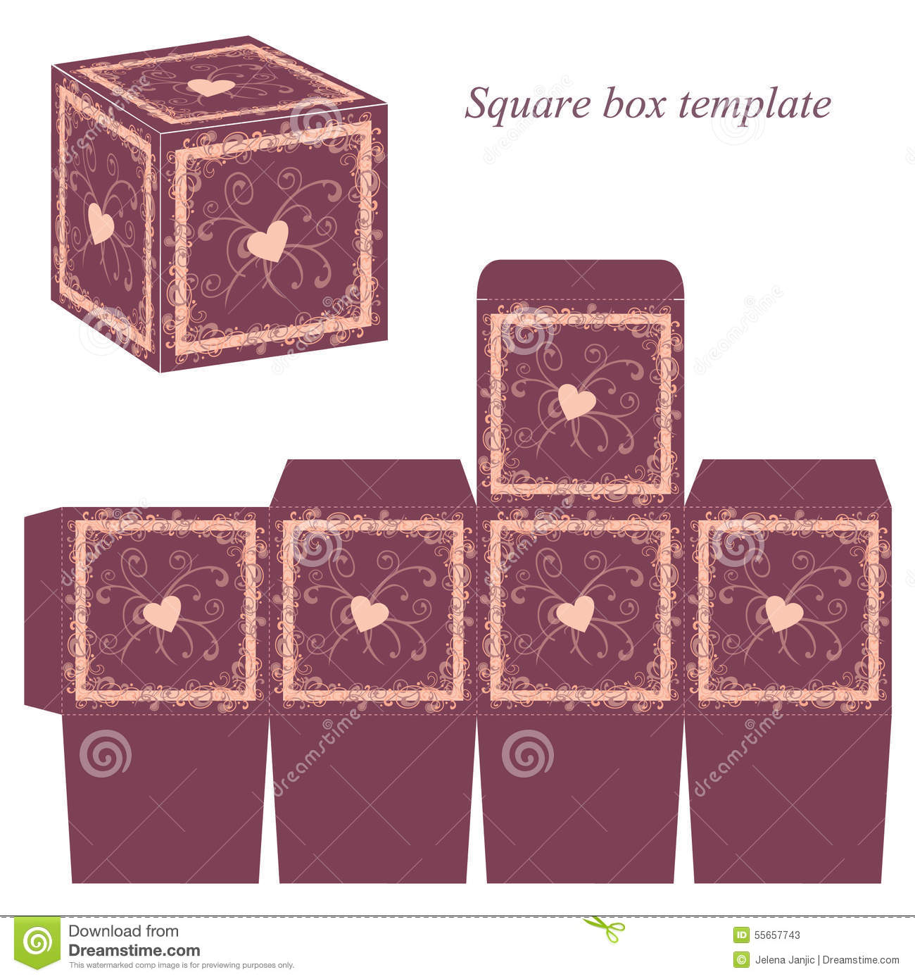 Decorative Boxes Templates : Box template with decorative borders and hearts stock