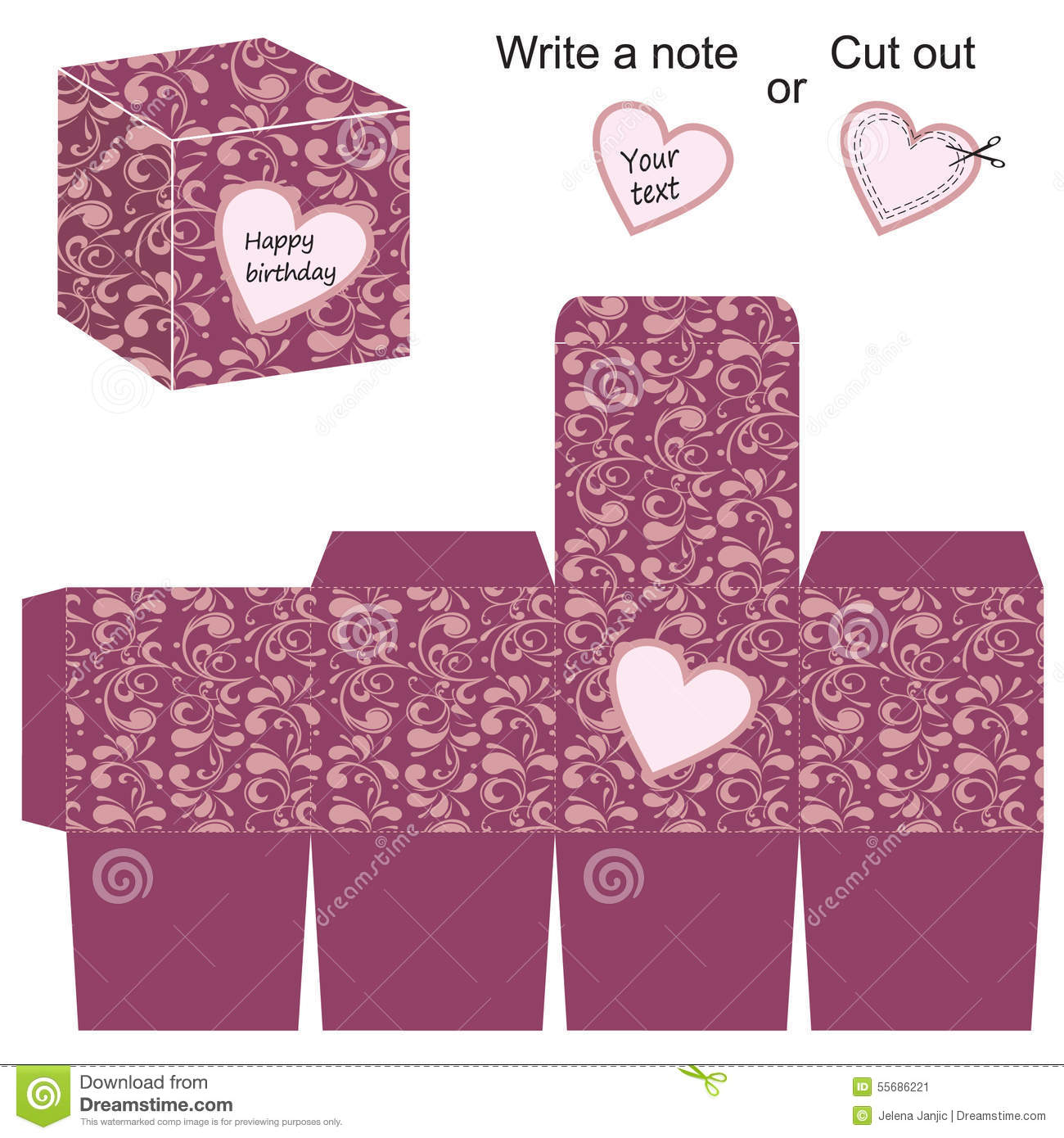 Box Template With Floral Pattern And Heart Stock Vector