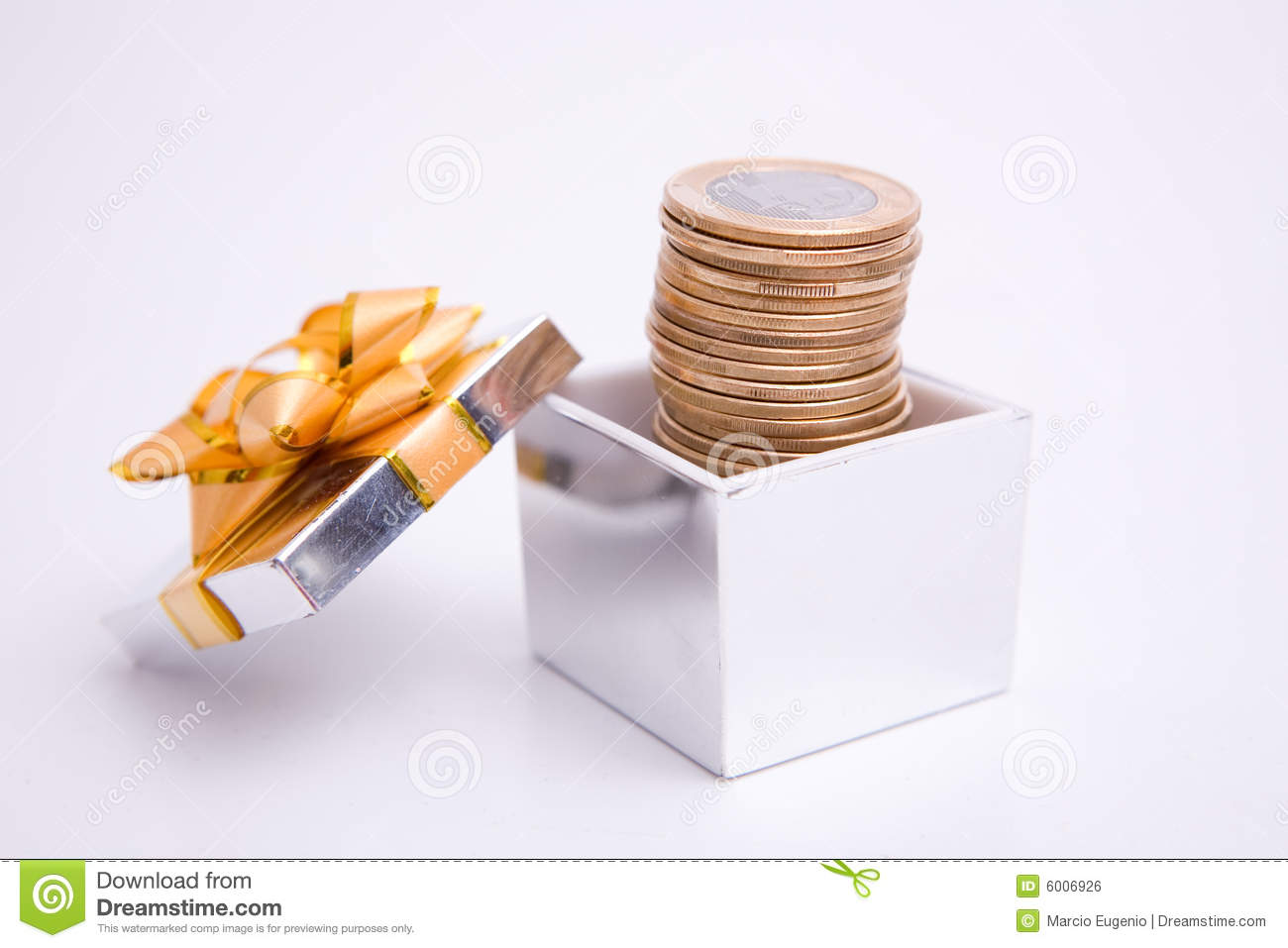 Download Box to gift and coin stock photo. Image of euro, currency - 6006926