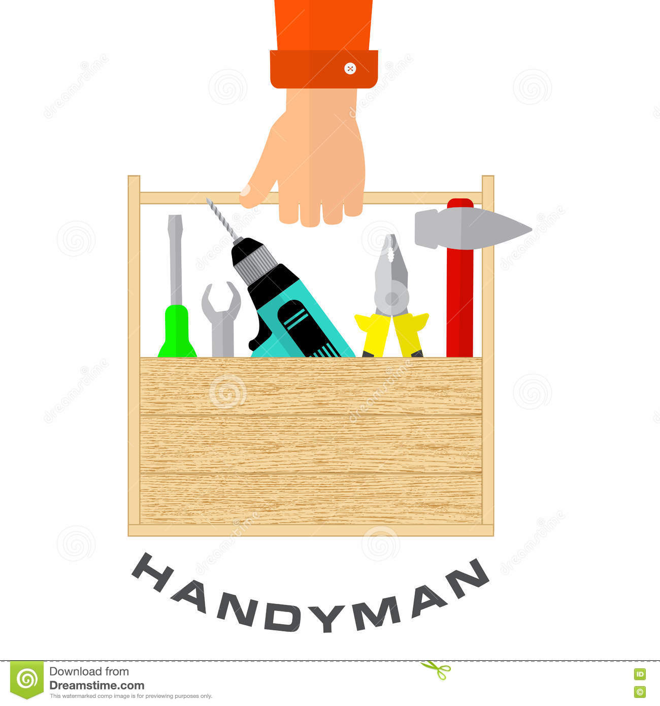 Box Of Tools In Hand Of Handyman House Remodel Tools