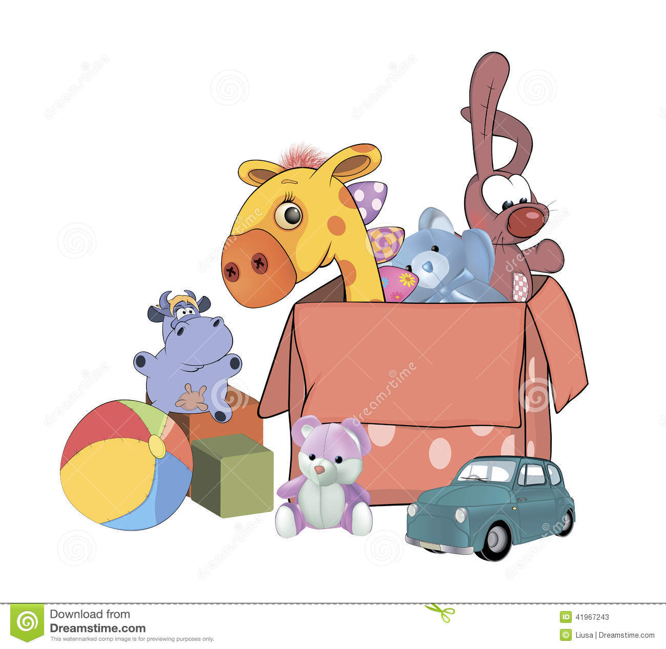 Soft Toys Cartoon : Box with toys cartoon stock illustration of